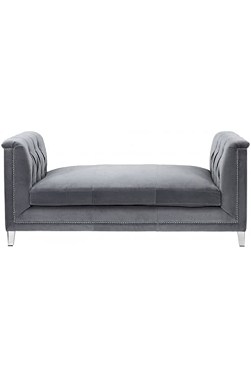 Amazon.com: Luxe muebles Loveseat banco de terciopelo gris ...