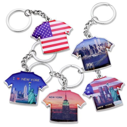 - 5x Love New York Statue of Liberty, Empire State Building, World Trade Center, NY Sky View Photo, United States of America US American Flag T-Shirt Design Keychain Key Chain Ring - Set of 5
