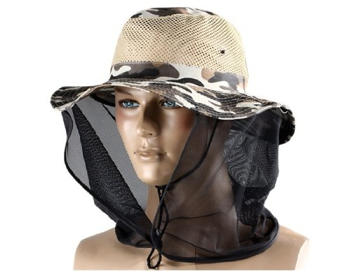 Collapsible Outdoor Hooded Hat with Bug Proof Mesh (Brown Camouflage)