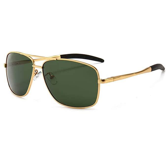 dc9635d1101d SUNGAIT Men s Polarized Sunglasses Durable Metal Frame for Fishing Driving  Golf (Gold Frame Green