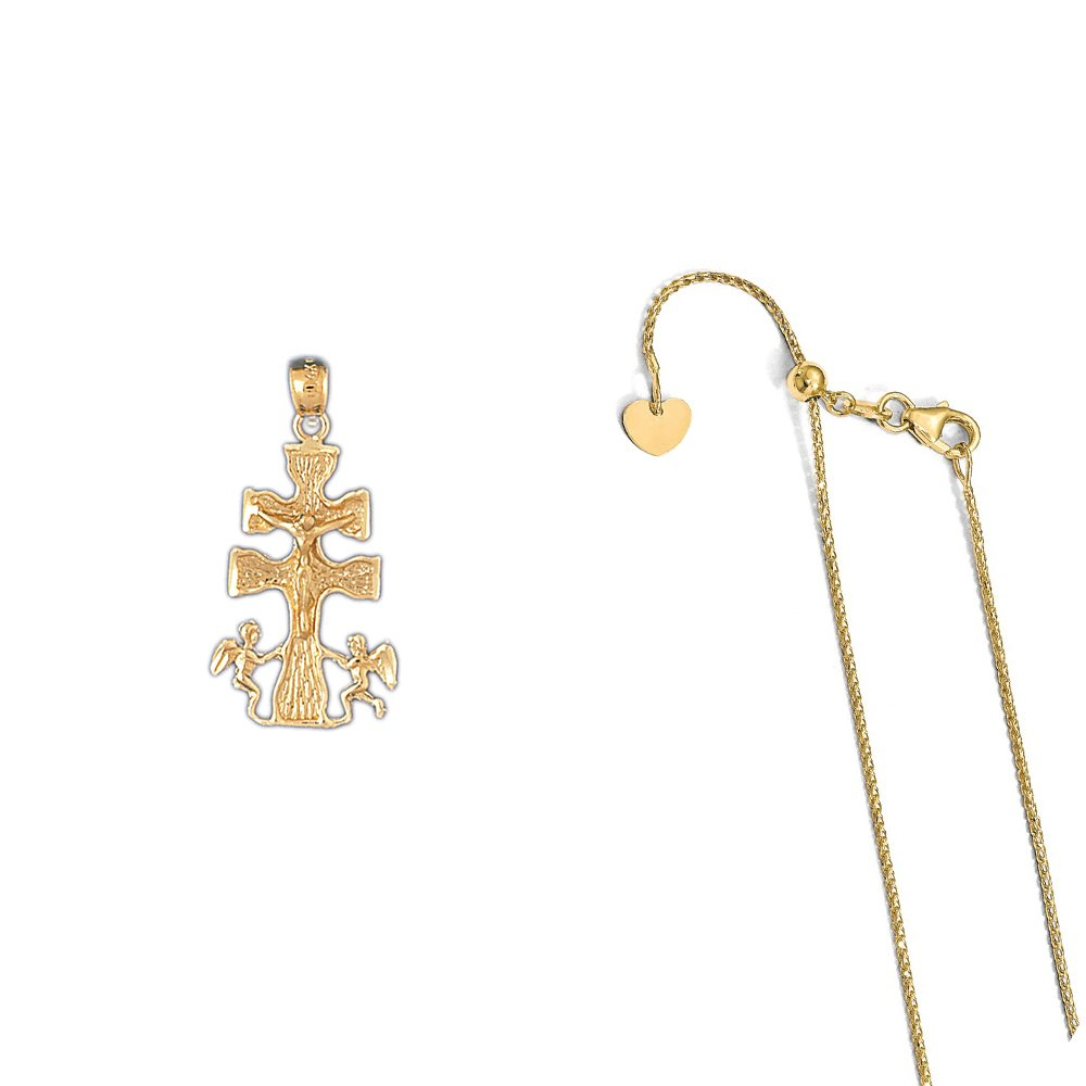 14K Yellow Gold Crucifix Pendant on an Adjustable 14K Yellow Gold Chain Necklace