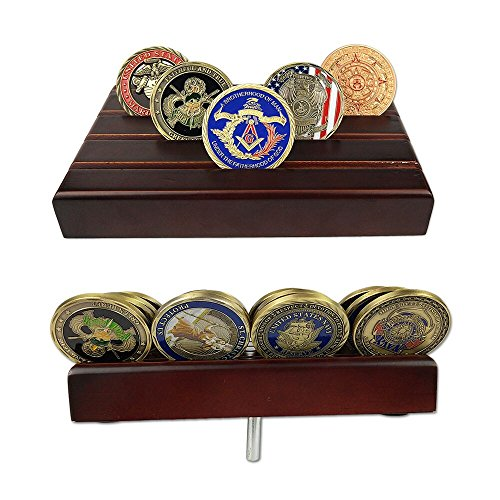 Coin Row Display (Indeep 4 Rows US Army Military Collectible Challenge Coin Display Stand Holder Wooden)