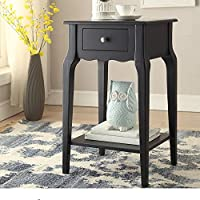 Single Piece Daniella 1-Drawer Midnight Black Wood Storage Accent End Table, Nightstand, Classical Rectangle Shape, Contemporary And Country Style, Rubberwood Veneer And Wood Material, Charcoal