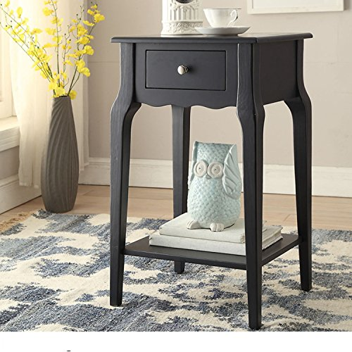 Single Piece Daniella 1-Drawer Midnight Black Wood Storage Accent End Table, Nightstand, Classical Rectangle Shape, Contemporary And Country Style, Rubberwood Veneer And Wood Material, (Contemporary Country End Table)