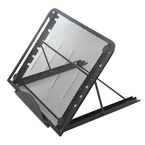 Mesh Copyholder - Portable Folding Adjustable Cooling Stand for Laptop/Tablet, Book & Magazine Holder, Metal Mesh, Black