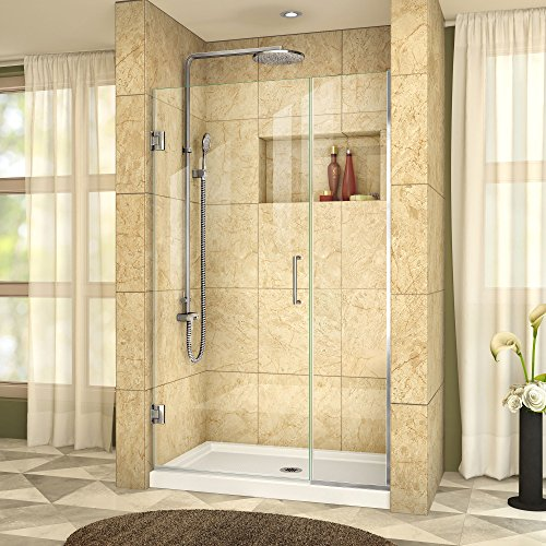 [DreamLine Unidoor Plus 41 1/2-42 in. Width, Frameless Hinged Shower Door, 3/8