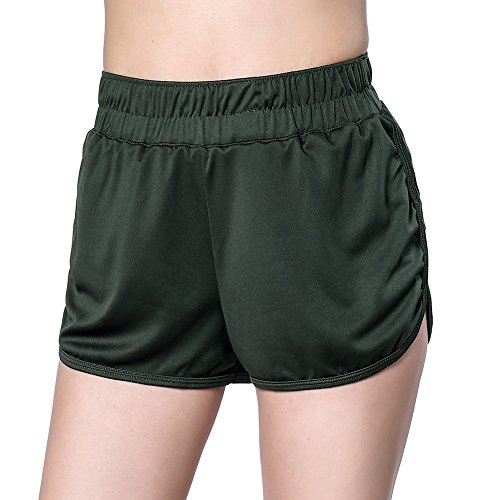 DISBEST Women's Sports Shorts, Moisture-Wicking Active Lounge Gym Workout Yoga Shorts,Army Green,M/US - Shorts Running Army Us