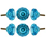 Set of 6 Crystal Glass Knobs Kitchen Cabinet Cupboard Glass Door Knobs Dressser Wardrobe and Drawer Pull by Perilla Home (Blue)