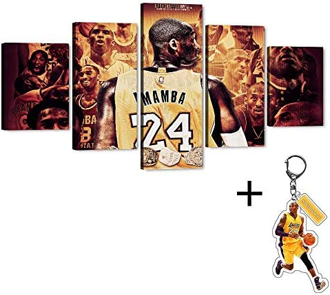 Kobe Bryant 5 Piece Large Canvas Wall Art Los Angeles Lakers Forever Legend 24th NBA Super Star Picture Artwork
