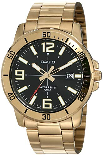 Casio MTP-VD01G-1BV Men's Enticer Gold Tone Stainless Steel Black Dial Casual Analog Sporty Watch