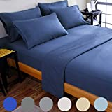 Bed Sheets Super Soft Microfiber 1800 Thread Count Luxury Egyptian Sheets 18-Inch Deep Pocket Wrinkle and Hypoallergenic-6 Piece - Sonoro Kate (Navy Blue, Full)