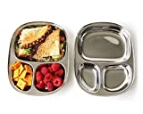 King International 100% Stainless Steel Three in one Dinner Plate Three sections divided plate Three section plate -Set of 2 Mess Trays Great for Camping, - 24 cm