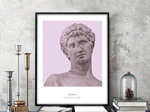 - Adonis   Portrait of Adonis, Greek Mythology, Adonis Bust Art Print, Modern Home Decor, Violet, Greek God, History Prints, Bust Art Print