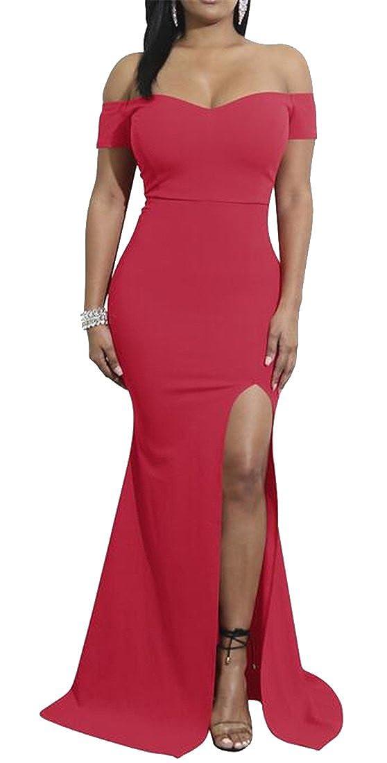 Jofemuho Women Off Shoulder Bodycon Cold Shoulder Split Cocktail Party Maxi Dress