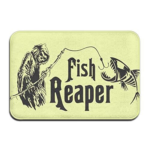 Hongclever Door Floor Mat, Doormats Outdoor, Fish Reaper Skull Non Slip Door Mats, Absorption Indoor Doormat, Door Mats for Home Bathroom (Best Interface For Reaper)
