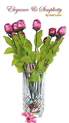Marquis by Waterford Markham 9in Vase with One Dozen 12 Inch Pink Milk Chocolate Rose Stems and 7 oz Assorted Gummy Rocks