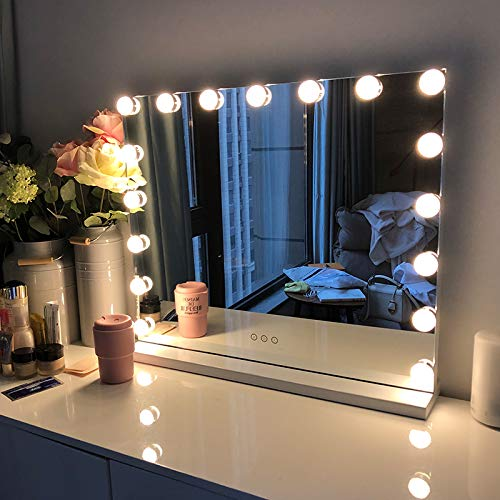 FENCHILIN Large Vanity Mirror with Lights, Hollywood Lighted Makeup Mirror with 14 -