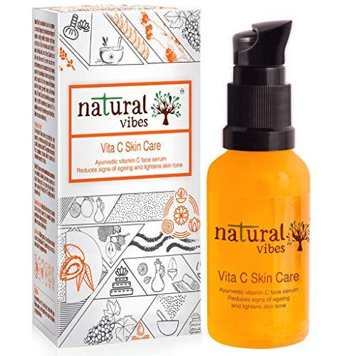 Natural Vibes Ayurvedic Vitamin C Skin Care Face Serum || Skin Brightening – Reduces Acne & Dark Spots –Anti Ageing – Glowing skin ||Paraben & SiliconeFree