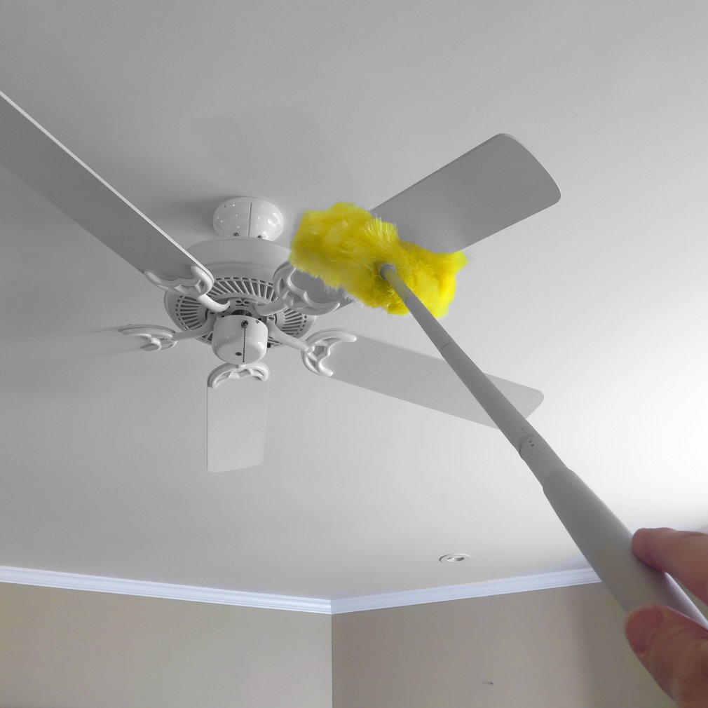 """Evelots Removable & Washable Ceiling Fan Duster - Up to 47"""" Reach, Yellow"""