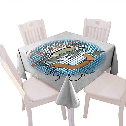 haommhome Crabs Picnic Tablecloth Cancer Sign in Cartoon Tattoo Style Astrological Theme with Floral Details Horoscope Party Tablecloth 36