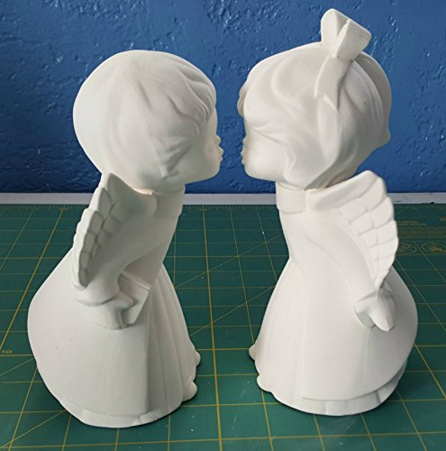 Angel Bisque (2 Kissing Angel Children Figurine unpainted ceramic bisque ready to be painted)