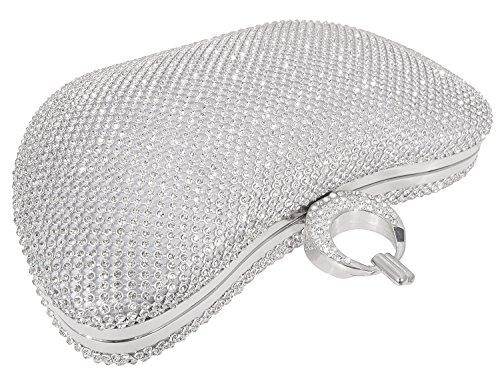 Rhinestone Evening Bling Clutch Mossmon Luxury Purse Women Bag Crystal Silver v0Y1wq0S