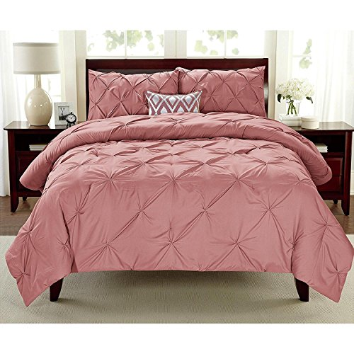 3pc Girls Coral Full Queen Abstract Pintuck Pinched Pleat Patterned Comforter Set, Polyester, Pink Shabby Chic Tuffted Adult Bedding Master Bedroom French Country Vibrant Colorful Elegant by D&D