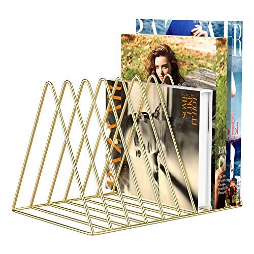 Magazine Rack, Newspapers Holder Magazine Letters Storage Files Folder Stand 9 Slot Desktop Organiser Book Shelf Vintage Design Metal Home Office (Gold)