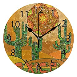 XiangHeFu Wall Clock,Round 10 Inch Diameter Silent Abstract Sun Mexican Cactus Decorative for Home Office School