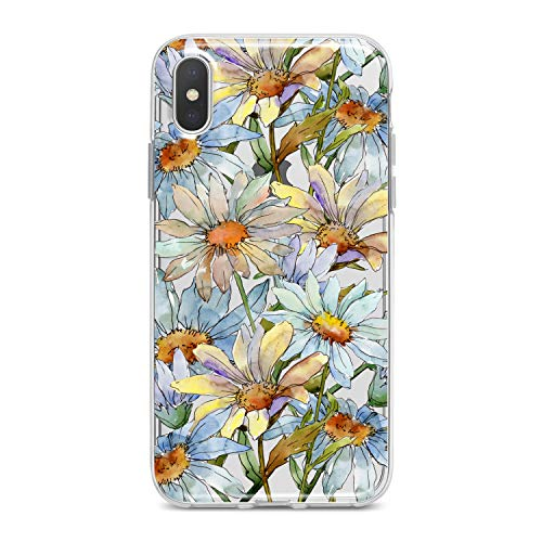 (Lex Altern TPU Case for iPhone Apple Xs Max Xr 10 X 8+ 7 6s 6 SE 5s 5 Flexible Print Flower Floral Art Girl Women Smooth Cover Clear Pattern)