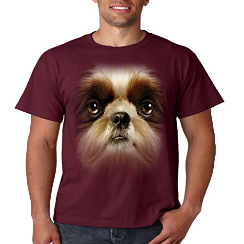Shih Tzu Face T Shirt Dog Owner Mens Tee S-5XL (Maroon, XL) Shih Tzu Face