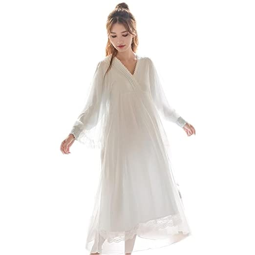 Womens Victorian Vintage Nightgown Princess Sleepwear Long Sleeve Lace  Pajama Lace Nightdress Robe (Light Blue 247eeeeb3b6a