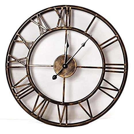 Amazon.com: XIE@20inches DIY Vintage 3D Large Wall Clock Wrought Iron Wall Clock Watch Saat Digital Clocks Relogio de Parede Reloj de Pared Klok £¨Without ...
