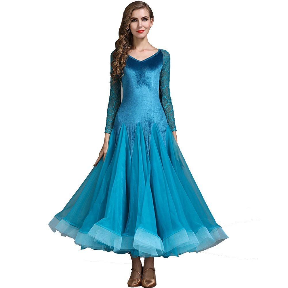 bluee Modern Dance Skirt Retro Cheongsam Collar Ballroom Dance Skirt Skirt Ballroom Dance Skirt Waltz Skirt