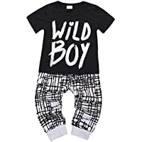 Baby Boys Clothes Set Wild Boy Long Sleeve T-Shirt Tops and Pants Outfits Winter Spring Black