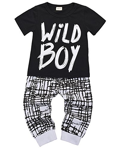 Baby Boys Clothes Set Short Sleeve Wild Boy T-Shirt Pants Outfit Winter Spring, Short Sleeve Bla ...