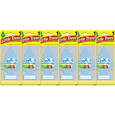LITTLE TREES Car Air Freshener | Hanging Paper Tree for Home or Car | Summer Linen | 6 Pack: Automotive