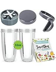 Cup & Blade 6 Pc Set for NutriBullet Replacement | Quality Blade + Two (2) 32 oz. Cups + Seal Lid + Screw Handle + Exclusive Recipe Booklet for Nutri-Bullet Blender