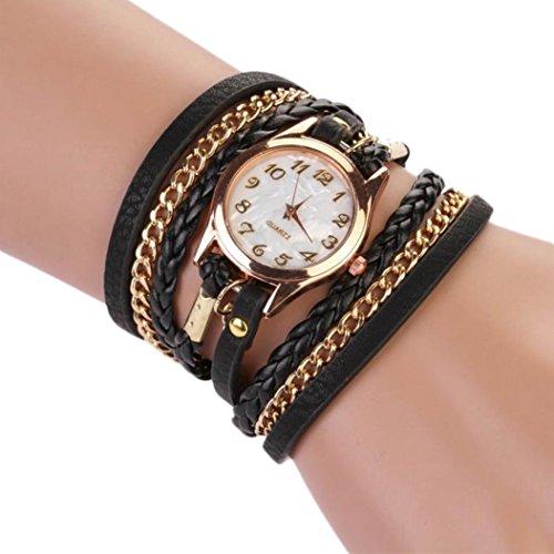 Women's Black Braided Leather Strap Watch - 5