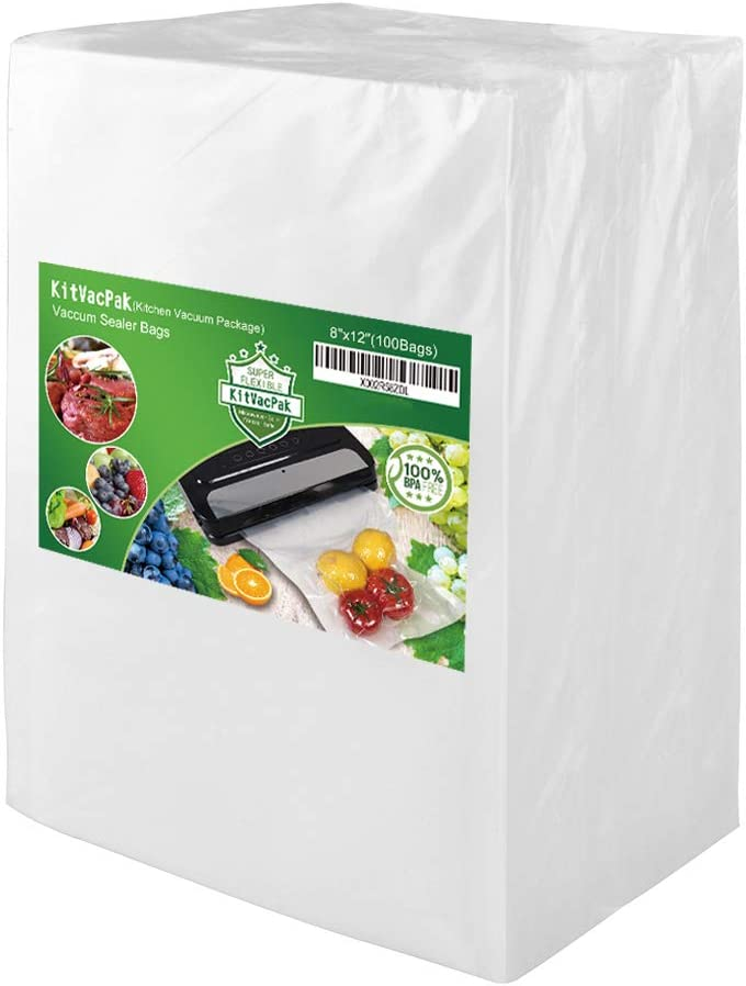 KitVacPak 100 Quart 8X12 Food Saver Vacuum Sealer Bags with Commercial Grade, BPA Free, Heavy Duty.Vacuum Sealer Freezer Bags Compatible with FoodSaver,Weston,Seal a Meal plus Other Machine.