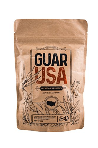Guar Gum - Guar Gum Powder 100% USA made!!! Food grade,100% Natural, Gluten Free & Vegan. Made from USA grown Guar Beans, Kosher & Halal certified. Perfect for baking, cooking & Ice cream making (8 OZ)