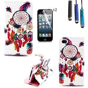 Funda con Soporte - Color Mixto - para iPhone 4/4S/iPhone 4 ( Multicolor , Cuero PU/TPU )