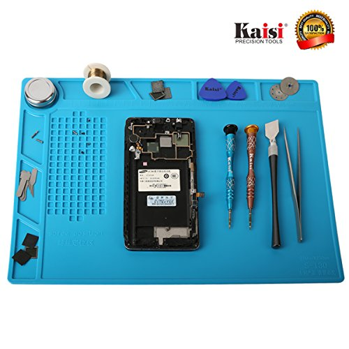 Heat Resistant Soldering Silicone Mat Repair Insulation Pad Screw Tray Maintenance Platform Work Mat Phone Repair tools for Soldering Iron Station, Phone Repair Computer Repair Watch Repair by Kaisiking (Image #1)