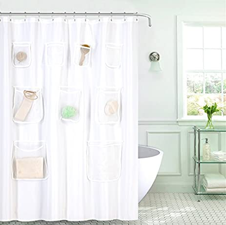 goodgram water resistant fabric shower curtain liner with pockets assorted colors white