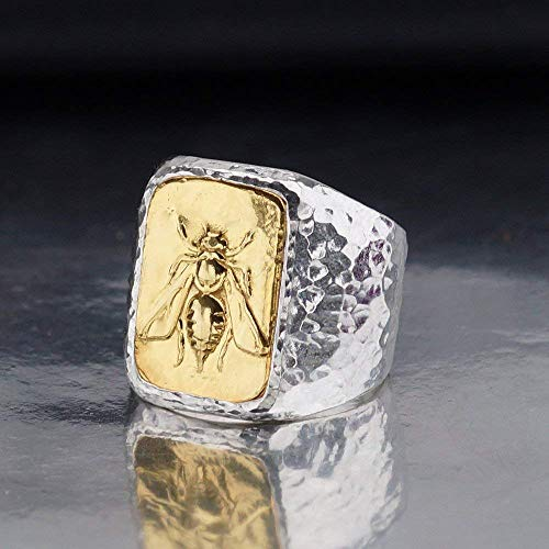 925 Sterling Silver Bold Collection By Omer Bee Coin Men's/Unisex Ring Hammered Handmade