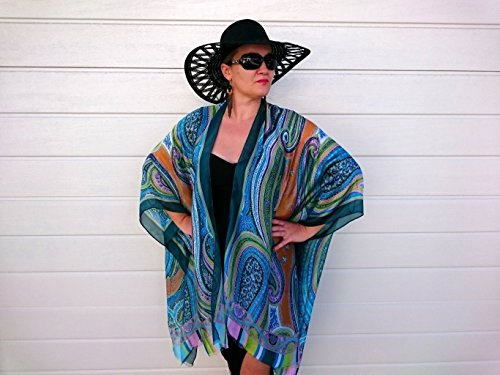 Plus Size Kimono, Bathing Suit Cover Up, Paisley Silk Robe by Bubbles Bay