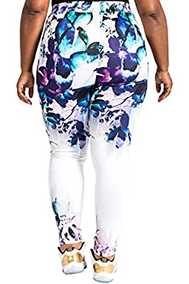 Poetic Justice Plus Size Curvy Women's Active Floral Print Poly Tricot Legging