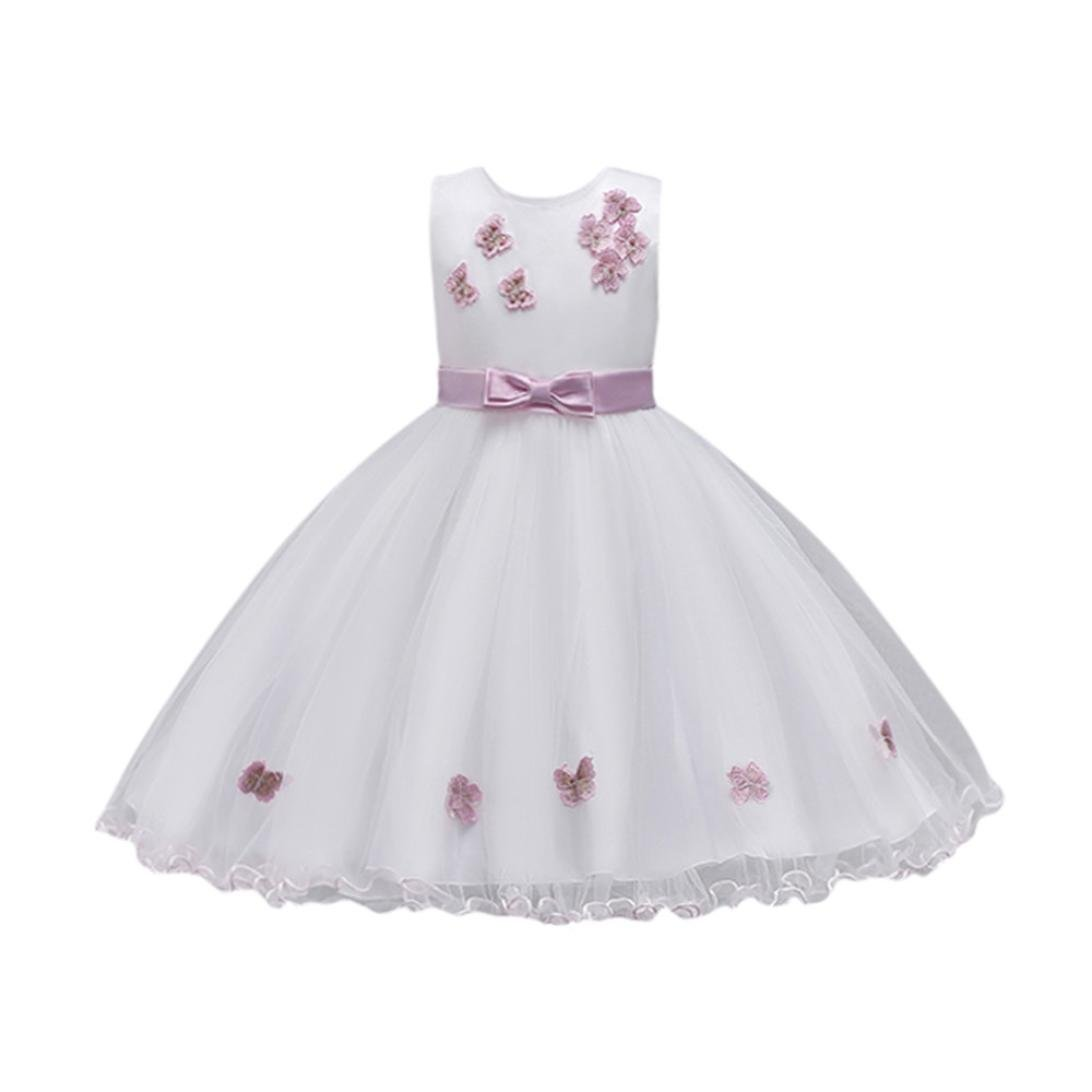 Kobay Girls Sleeveless Butterfly Bow Lace Mesh Tutu Dress, Baby Princess Bridesmaid Pageant Gown Birthday Party Fancy Wedding Dress Suitable for 2-8 Years Princess