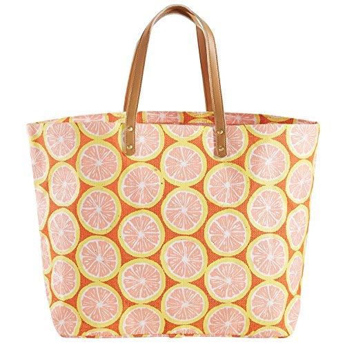 Mud Pie Women's Fashion Summer Fruit Jute Tote Bag (Grapefruit)