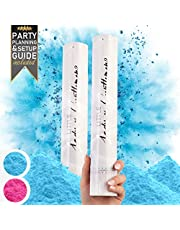 Premium Gender Reveal Confetti Cannon - Set of 2 - Biodegradable Powder in Pink or Blue, For Gender Reveal Decorations and Baby Gender Reveal Party Supplies with Gender Reveal Powder Cannon
